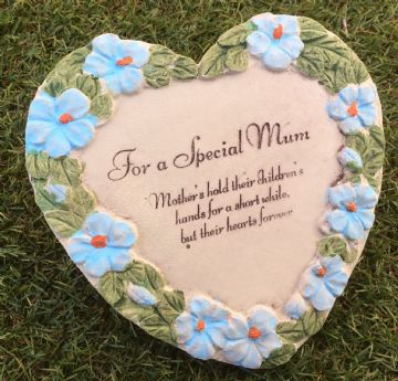 Large 15cm SPECIAL MUM HEART with BLUE FLOWERS Grave Stone  956191